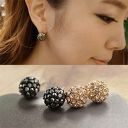 D213 good jewelry Korean Stud Korea beautiful rhinestone ball earrings earrings Stud
