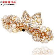 Smiling Korean Ribbon Pearl hairpin clip headgear top new Korea issuing horizontal clamp clip hair accessories