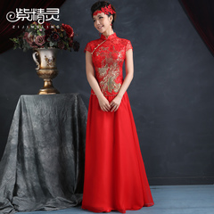 Purple Fairy bride toast clothing red Phoenix embroidery Chinese cheongsam dresses improvement split slim dress