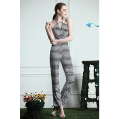 Street photography sexy v-neck strap trousers retro black and white high waist cotton jumpsuit strapless jumpsuit 9998