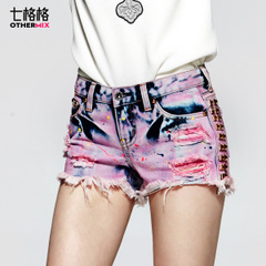 Seven space space OTHERCRAZY new ladies ' heavy wash worn holes in denim hot pants shorts women