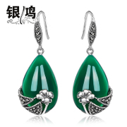 Hong 925 Silver jewelry, silver natural green agate drop earring Thai silver retro ladies literally drop earrings