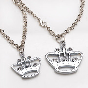 Smiling Korean version of post Crown rhinestones pendant necklace collar accessory pendant jewelry women pendant jewelry