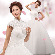2015 new vintage wedding dresses wedding dresses to wedding bride lace together shoulder plus size slimming winter package-