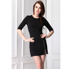 Spring in Europe and America the new simple zipper design slim packs-hip dresses, little black dresses at the waist slimming skirt 9993