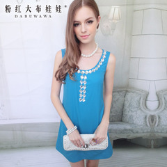 Sleeveless dress big pink doll summer 2015 new peacock blue inlaid stone a dress woman