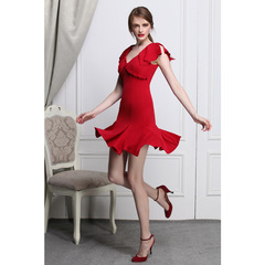 Enchanting Mermaid dark red sexy v-neck slim elegant ruffled fishtail skirt skirts dress 9024