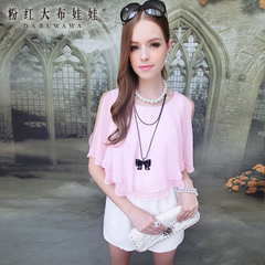 Shorts girls big pink dolls 2015 new spring and summer women's powder preclusion spell Lotus Leaf collar chiffon piece shorts
