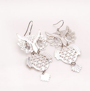 Post Korean version of smile package OWL alloy rhinestone long earring earring earring earring Korea jewelry women