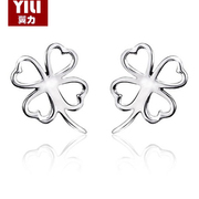 Wing new 925 sterling silver lucky clover fashion ladies white fungus nails Korean women''s fashion accessories women earrings