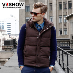 Viishow men's Joker down vest hooded collar 2015 spring new thermal down vest men