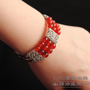 Handmade beaded jewelry DIY materials Bao Miaoyin vintage silver bracelet three-tier Crystal Tibetan silver hollow bracelet