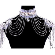 Shi Huanqi N180 extreme luxurious wedding style jewelry bridal wedding Studio Flash accessories tassels shoulder chain necklace