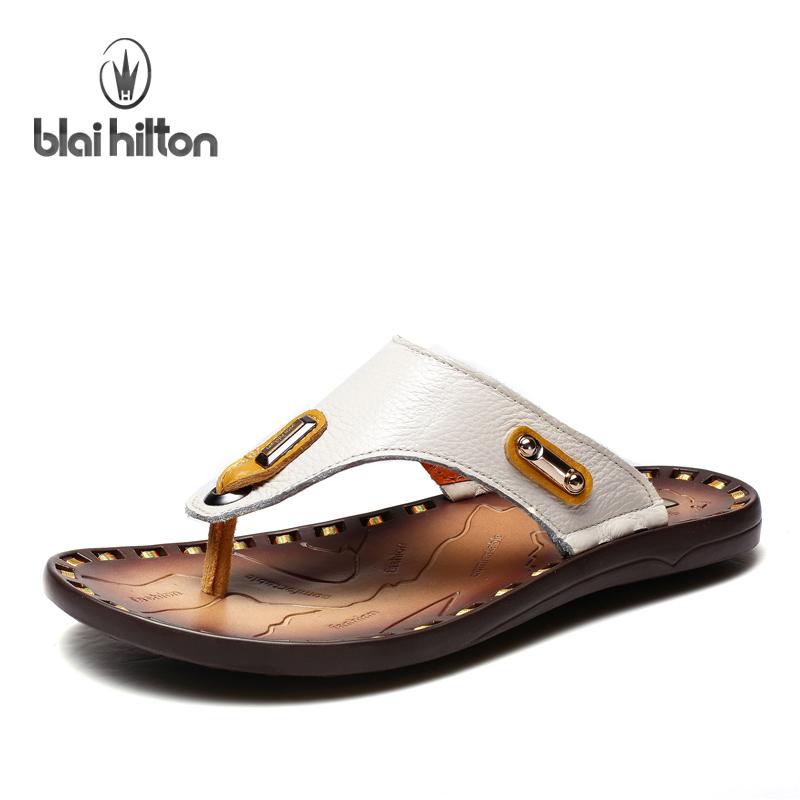 布莱希尔顿真皮拖鞋男士夏季韩版人字拖时尚简约沙滩拖鞋男凉拖潮