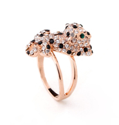 Mu-Mu accessories female accessories Europe imitate diamond rose gold-plated Crystal Panther ring rings special retro