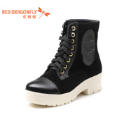 Red Dragonfly genuine leather women's shoes new style fashion casual tie-back contrast color comfortable Hi-women's