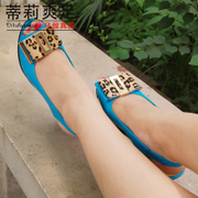 Tilly cool feet in summer 2015 wedges shoes elegant Leopard print bow peep toes leather sandals