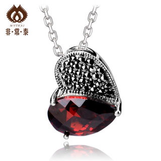 Thai Thai silver jewelry 925 Silver heart shaped pendant red CZ elegant Lady necklace pendant