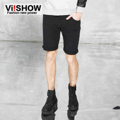 Viishow2015 waist straight-leg shorts in solid color cotton slim leisure of youth street fashion shorts