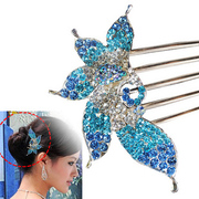 H004 well beautiful Peacock jewelry beautiful fashion hair accessories hairpin rhinestone hair comb plug comb tiara