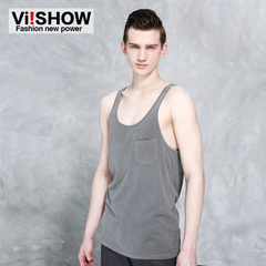 Viishow2015 new round collar cotton shirt City boy loose leisure youth solid color sleeveless sweat vest