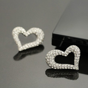 Good jewelry Korea rhinestones earrings Korean elegant heart-shaped charm earrings women''''s fashion