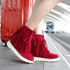 2015 new fringed boots with round head and thick-soled shoes for fall/winter Korean version with comfortable leisure and bare boots scrub boot