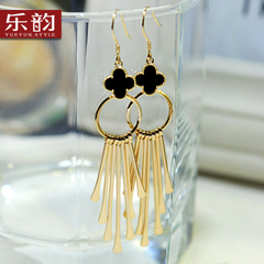 Music jewelry long four-leaf clover stamp 925 Silver tassel earrings wild temperament Korea earrings women''s Christmas