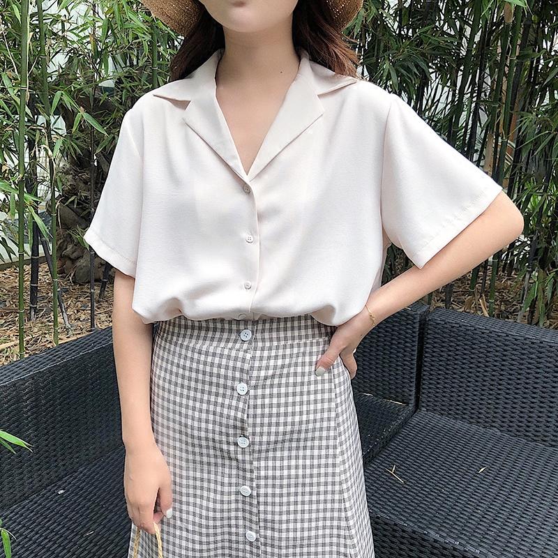 雪纺衬衫女短袖翻领韩版2019夏职业心机上衣设计感法式复古白衬衣