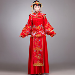 Purple Elf embroidered Chinese-style show and hold toasting bride wedding gown show Wo suit of Dragon and Phoenix cheongsam dress new 2015 spring