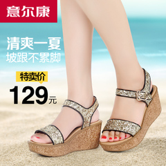 Kang women sandals, summer new style sequins comfort chunky wedges platform with Bohemian women sandals
