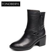 Fondberyl/feibolier 2015 winter leather head thick heeled casual booties women's shoes FB54118127