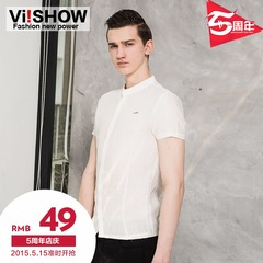Summer viishow men's short sleeve shirt England rivet buckle men's shirts slim short sleeve texture tide