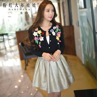 Sweater big pink doll set flowers spring 2015 with new black slim knit Cardigan Sweater women