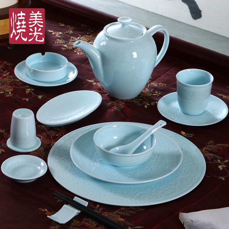 青墨水 新中式青瓷陶瓷餐具 酒店餐厅料理瓷器 陶瓷饭碗盘子碟子