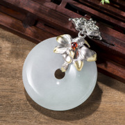New Thai female jade 925 Silver Pendant pendant fashion wild silver pendant flowers