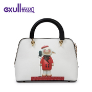 Exull/exull Q2015 cartoon cute new winter white zippered shoulder bag for 15340282
