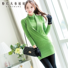 Turtleneck big pink doll spring 2015 new base sweater Turtleneck Long sweater women