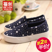 Becky's lazy new pedal shoe women's shoes a breathable canvas shallow thick-soled platform shoes and leisure shoes