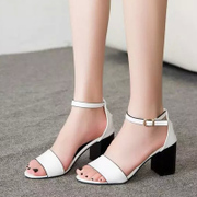 2015 summer tide European female rough heels shoes with a buckle Sandals peep-toe slim shoes wave