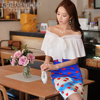 Strapless tops big pink doll summer 2015 ladies strap white bow tie ruffled shirts women