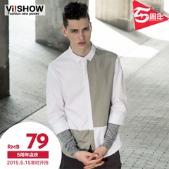 Viishow2015 spring for new men's long sleeve shirt stitching easy-care cotton slim tide shirt men