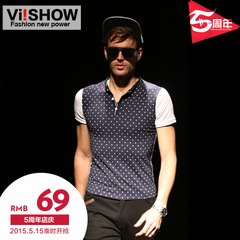 Viishow men's polo shirt men's short sleeve slim fit leisure business in England summer polo shirt blouse