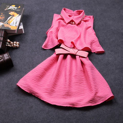 New 2015 summer elegance two piece set bow shirt collar cotton dress