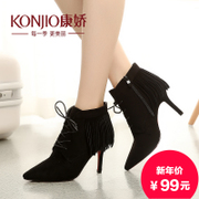 Kang Jiao in autumn and winter nude boots fashion shoes ankle boots pointed stilettos of England with a leather tassel short tube boots