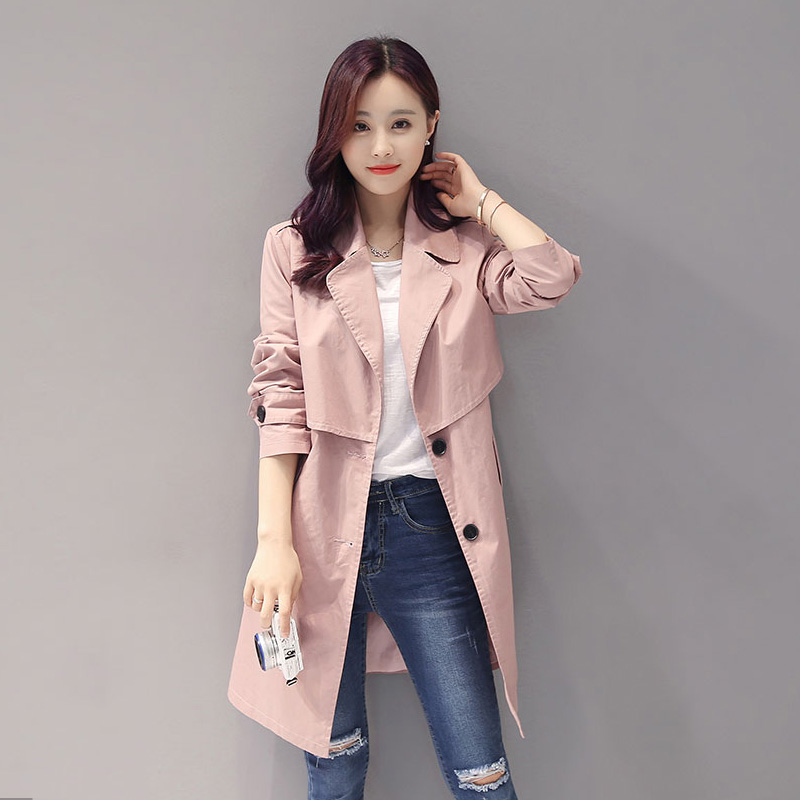 In The Autumn Of 2017 Female College Students New Korean Long Casual Windbreaker Jacket
