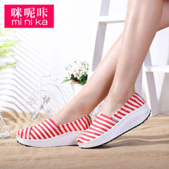 Microphone Ta-fall 2015 new Korean shoes canvas shoes wag female thick-soled platform shoes and leisure shoes wedges shoes