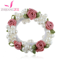 Jiang beaded Pearl hair bands made of rope tied flower head band Korea Lady high-elastic rope girl tiara hair accessories