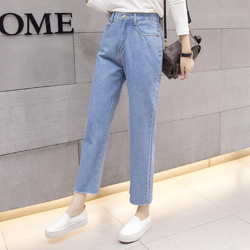 韓版BF風直筒牛仔褲女九分褲秋季高腰寬松顯瘦毛邊闊腿牛仔長褲女