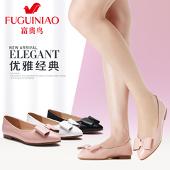 Fuguiniao shoes spring 2016 new sweet bow low casual shoes leather women shoes